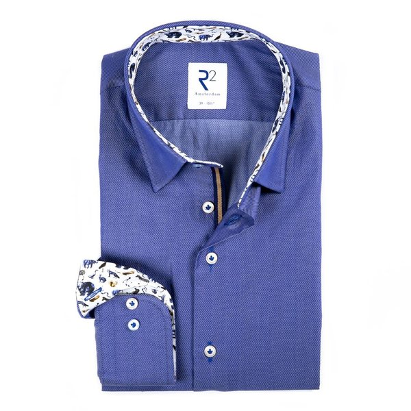 R2 Blauw Herringbone katoenen overhemd.