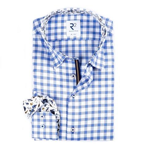Weiß-blau kariertes Baumwollhemd Royal Oxford.