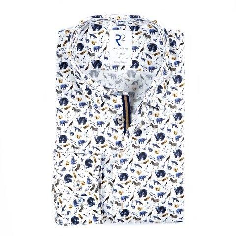 White animal print cotton shirt.