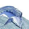 Wit met blauw gestreept 2 PLY organic cotton overhemd.