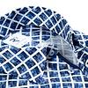 Wit blauw grafische print katoenen overhemd.