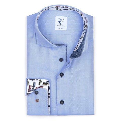 Lichtblauw Pied-de-poule 2 PLY katoenen overhemd.