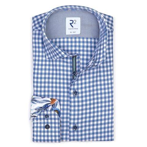 Weiß-blaues Pied de poule Baumwollhemd.