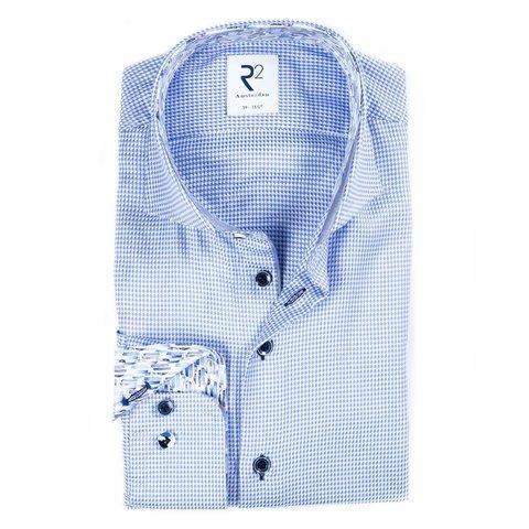 Blauw Pied-de-poule 2 PLY katoenen overhemd.