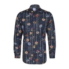 Dunkelblaues Baumwollhemd mit Blütenprint.