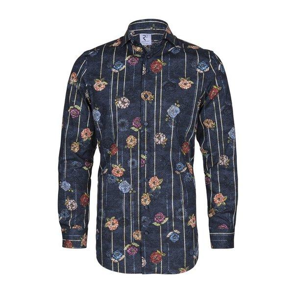 R2 Dark blue floral print cotton shirt.