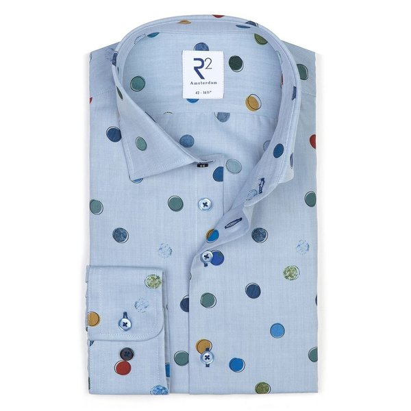 R2 Blauw cirkelprint katoenen overhemd.