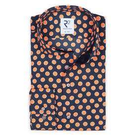 R2 Dark blue dots print cotton shirt.