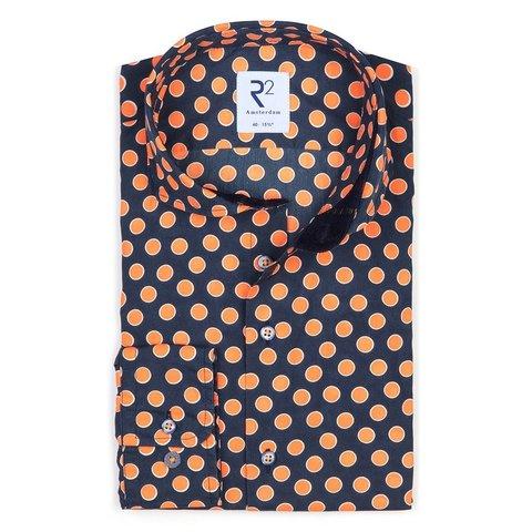Dark blue dots print cotton shirt.