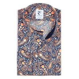 Wit met paisley print katoenen overhemd.