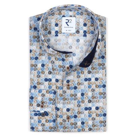 Lichtblauw grafische print katoenen overhemd.