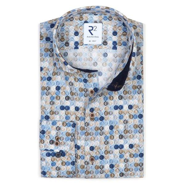 R2 Hellblaues Baumwollhemd mit grafischer print..
