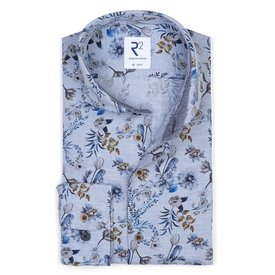 R2 Blue floral print flanel cotton shirt.