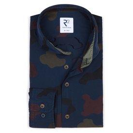 Navy blue army print cotton shirt.
