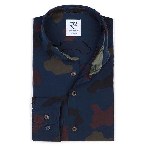 Navy blue camouflage print cotton shirt.