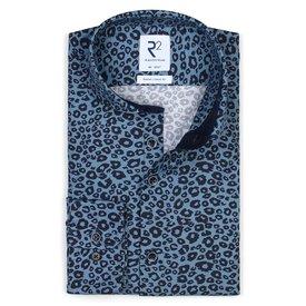 Blauw panterprint katoenen overhemd.