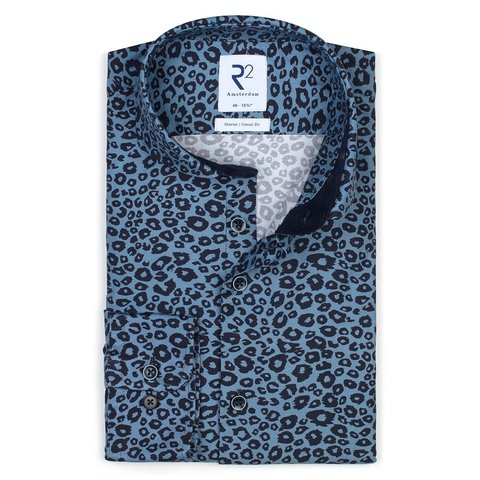 Blauw panterprint 2 PLY katoenen overhemd.