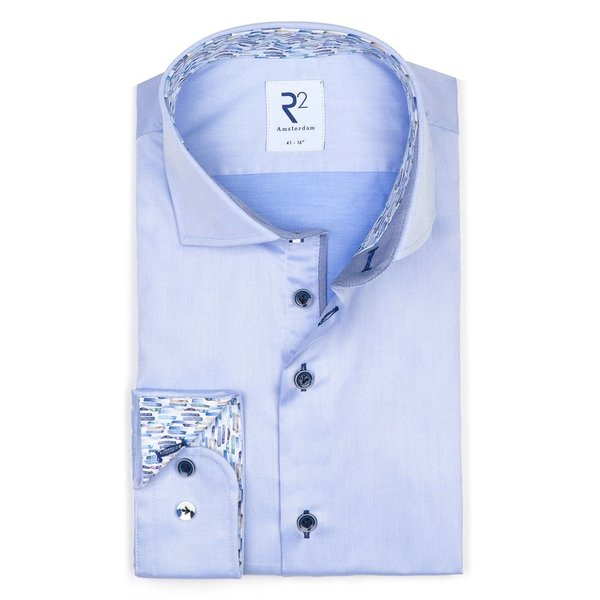 R2 Blauw 2 PLY  katoenen overhemd.