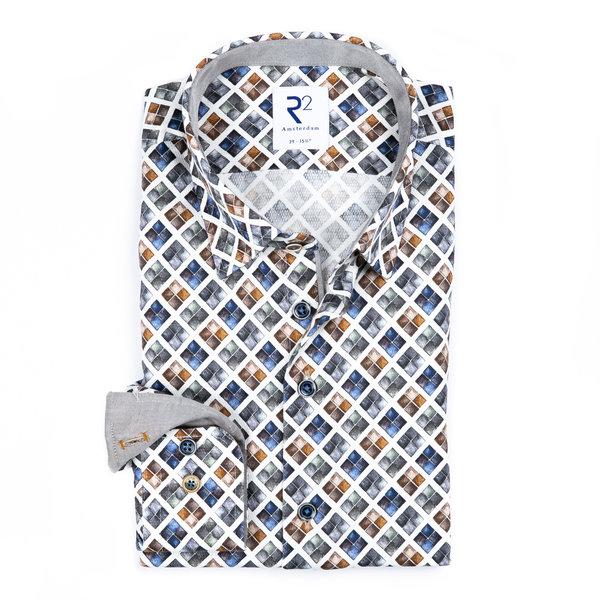 R2 Wit met grafische print katoenen overhemd.