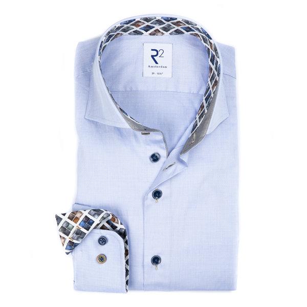 R2 Light blue Herringbone cotton shirt.