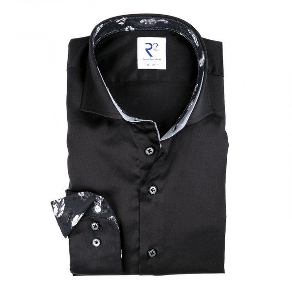 R2 Zwart 2 PLY katoenen overhemd.