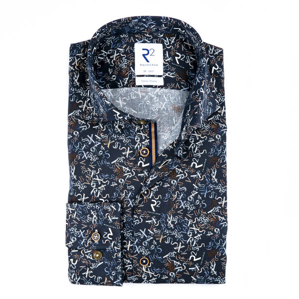 Dark blue letter- digit cotton shirt.