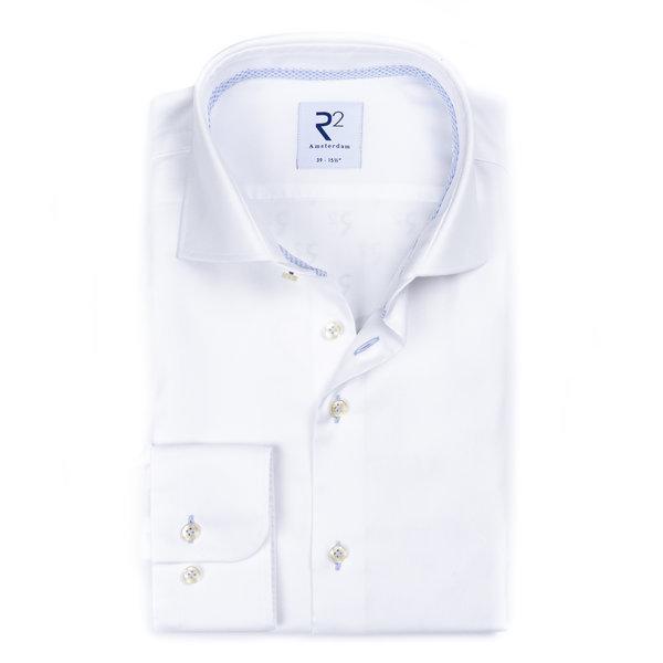 R2 Wit strijkvrij katoenen overhemd.
