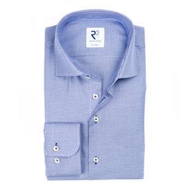 R2 Blauw strijkvrij Pied de Poule katoenen overhemd.