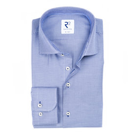 R2 Blue non-iron Pied de Poule cotton shirt.