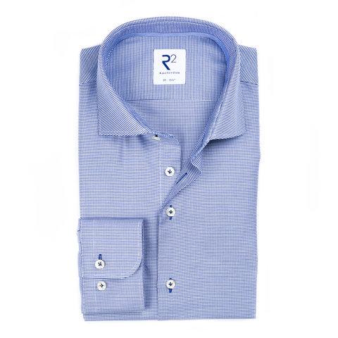 Blauw strijkvrij Pied de Poule katoenen overhemd.