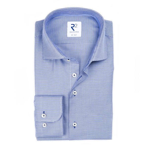 R2 Blue non-iron Pied de Poule cotton shirt.