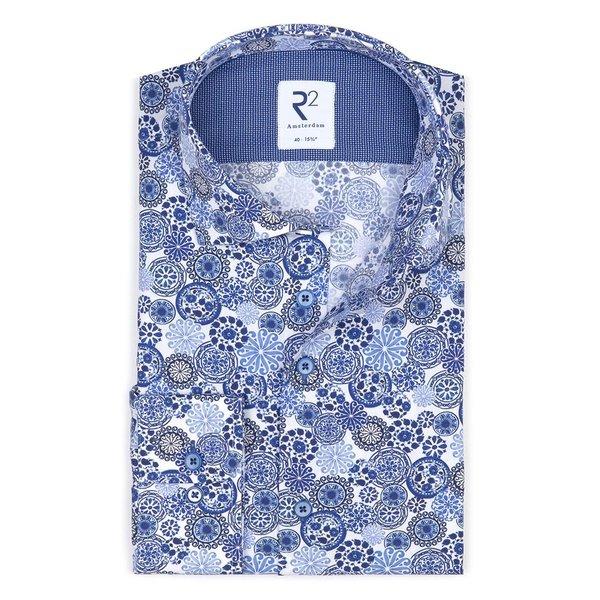 R2 Blauwe Royal Blue print katoenen overhemd
