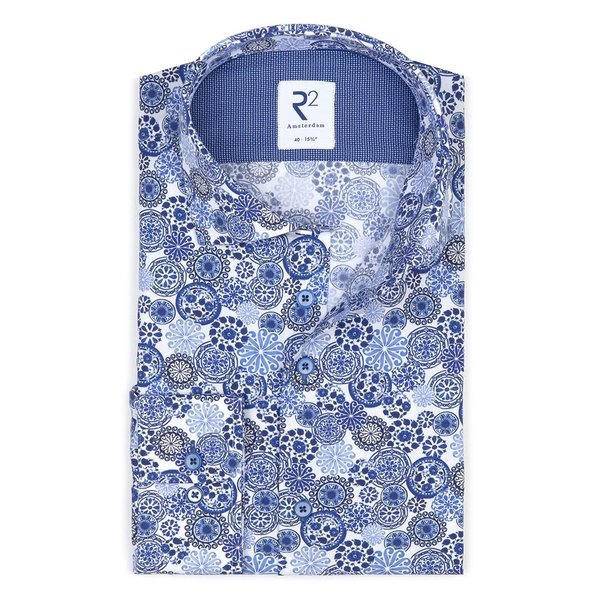 Blauwe Royal Blue print katoenen overhemd