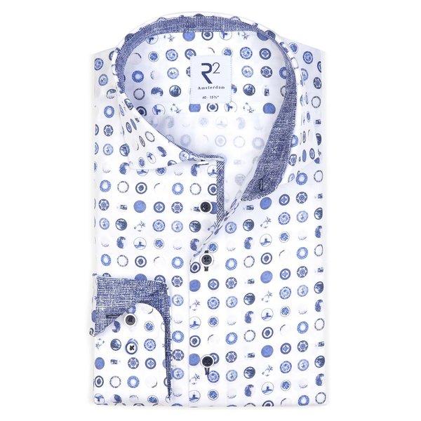 Wit Delft Blauwe print katoenen overhemd.