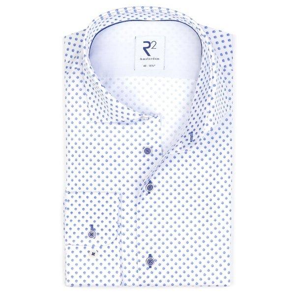 R2 Baumwollhemd mit weißen Punkten bedruckt.