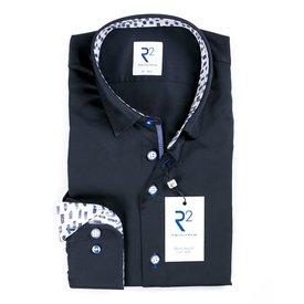 Donkerblauw katoenen overhemd