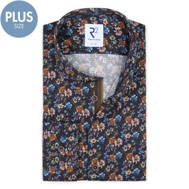 R2 Plus size. Donkerblauw bloemenprint katoenen overhemd.