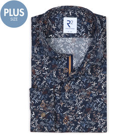 R2 Plus size. Dark blue letter-digit print cotton shirt.