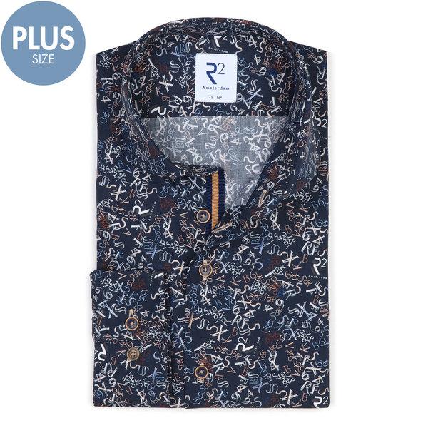 R2 Plus size. Dark blue letter-digit print cotton shirt.
