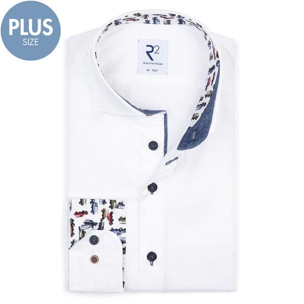 R2 Plus Size. Weißes 2 PLY Baumwollhemd.