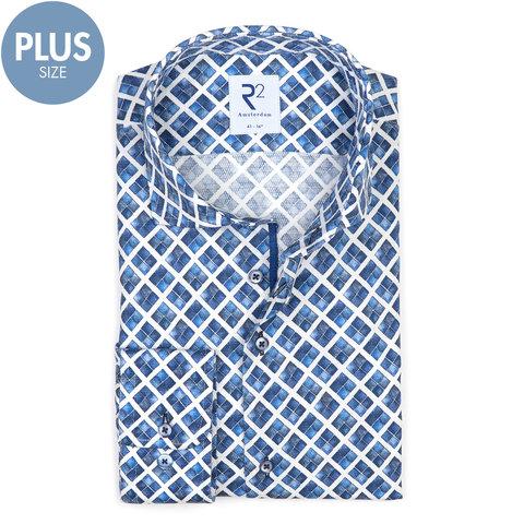 Plus size. Wit blauw grafische print katoenen overhemd.