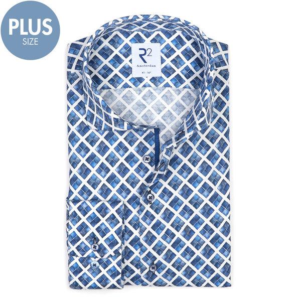 R2 Plus size. Wit blauw grafische print katoenen overhemd.