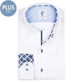 Plus size. Wit 2 PLY katoenen overhemd.