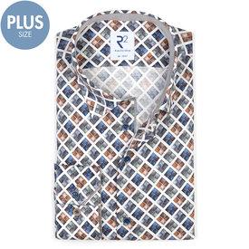R2 Plus size. Wit met grafische print katoenen overhemd.