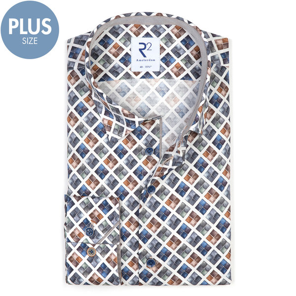 Plus size. White with graphical print cotton shirt.
