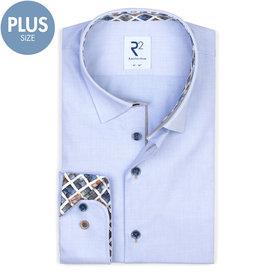 Plus size. Lichtblauw Herringbone katoenen overhemd.