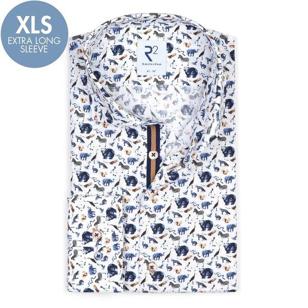R2 Extra Long Sleeves. White animal print cotton shirt.