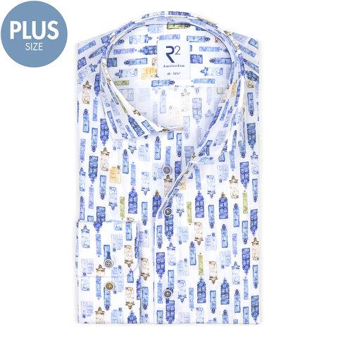 Plus Size. Wit grachtenpand print katoenen overhemd.