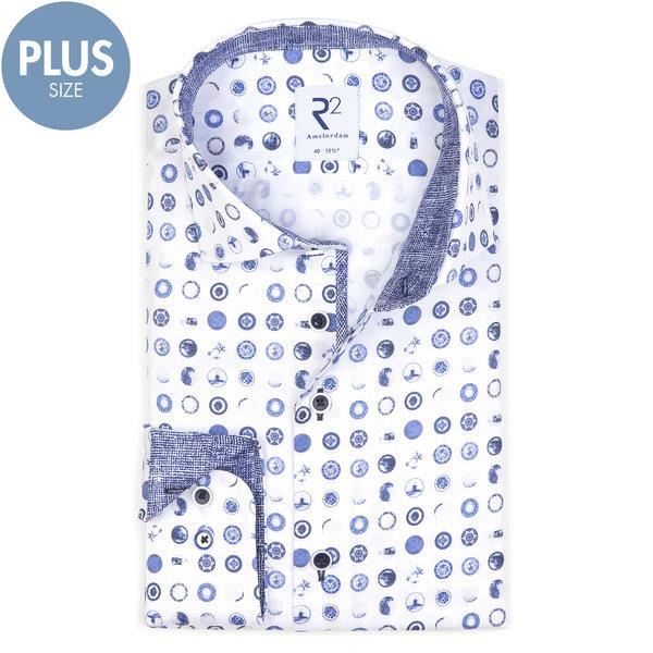 Plus Size. Wit Hollandse print katoenen overhemd.