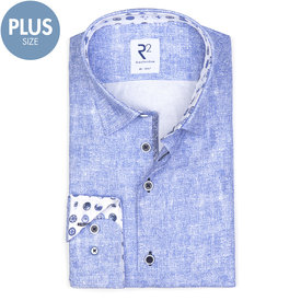 R2 Plus Size. Lichtblauw print katoenen overhemd.